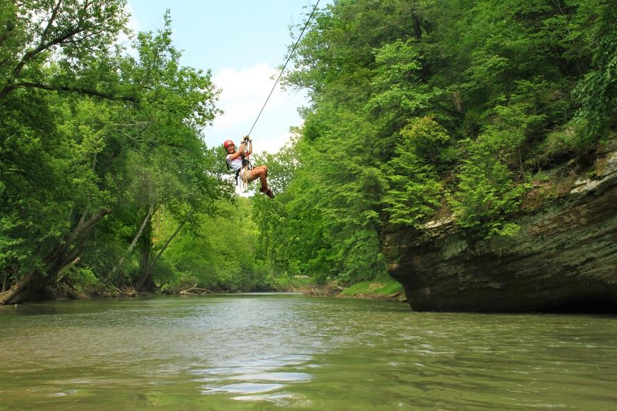 Zip over water
